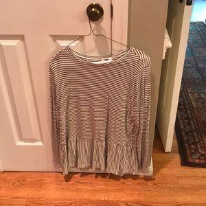 Black and white striped peplum long sleeve shirt!
